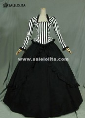 Civil War Victorian Steampunk Dress Black White Stripes Gothic Ball Gown For Women
