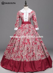 Victorian Renaissance Red Floral Print Cival War Southern Belle Dress Ball Gown Princess Reenactment Halloween Costume