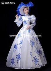 Newest Victorian Southern Belle Fantasy Fancy Party Dress Spring Floral Tea Party Marie Antoinette Theater Costume