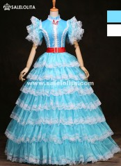 Blue/White Multi-layer Rococo Baroque Marie Antoinette Renaissance Princess Dress Historical Victorian Period Dress