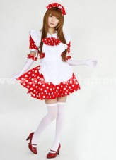2018 Sweet Top Sale Cotton Red And White Japanese Maid Costume ,Princess Halloween Cosplay Dresses For Women