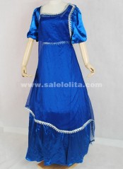 Graceful Blue Lace Short Sleeve Victorian Ball Gown Dresses Well Made