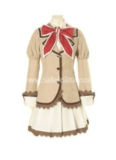 Brown and White Long Sleeves Lace Cotton Lolita Suit