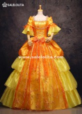 High-grade Gold Print 17th 18th Century Marie Antoinette Wedding Dress European Royal Court Party Gowns Victorian Gown