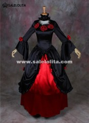 New Black And Red Vampire Halloween Dresses Southern Belle Victorian Wedding Dress Bridal Gowns