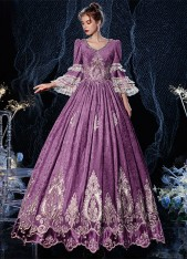 High-end Purple Rococo Southern Belle Queen Maire Antoinette Dress Medieval Theatre Reenactment Costume
