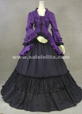 High grade purple horn long sleeved Gothic Vitoria long dress