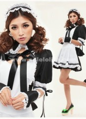 Fashion Sweety Princess Top Sale Cotton White And Black Japanese Maid Cosplay Uniform Costume For Halloween