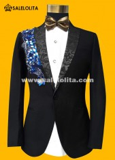 Retro Gentleman Men Party Black Paillette Suits