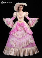 Newest Pink Marie Antoinette Dress Gown Rococo Baroque Masquerade Historical Costume Christmas Birthday Party Dresses