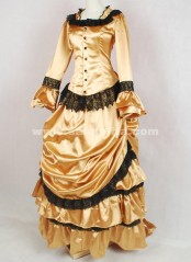 Brand New Gold And Black Lace Medieval Renaissance Long Sleeve Victorian Bustle Ball Gown