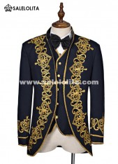 Men Black Baroque Costume Overcoat Embroidered Court Uniform Cloth Costume