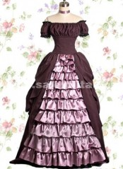 Dark Red Satin Off The Shoulder Multi Layer Gothic Lolita Dress