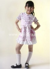 Flower Printed And Ruffled Cotton Kids Lolita Dress