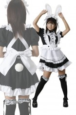 White And Black Sexy Maid Dress Gothic Fancy Dress Japanese Anime Cosplay Party Costume For Halloween