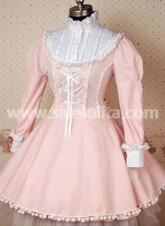 Pink and White Long Sleeve Cotton Classic Lolita Dress