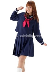Dark Blue Long Sleeves School Lolita Dress