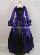 2016 New Elegant Vintage Dark Blue And Black Long Sleeves Bow Bead Decoration Victorian Ball Gowns Costumes For Halloween