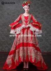 Upscale Medieval Gothic Wedding Red Gowns Theatrical Dovetail Clothing