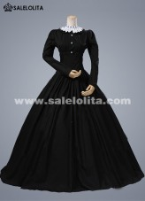 2018 Elegant Black Long Sleeves Retro Renaissance Gothic Victorian Dress Medieval Victorian Dress For Halloween