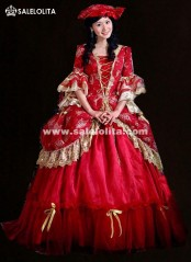 High-grade Red Print Rococo Marie Antoinette European Court Wedding Dress Historical Renaissance Ball Gowns