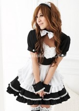 Cheap Black And White Casual Mini Cosplay Japanese Maid Costumes For Women