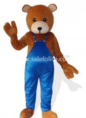 Adult Brown Teddy Bear Halloween Costume in Blue Clothing