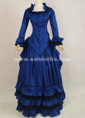 New Arrival Blue Medieval Renaissance Long Sleeve Victorian Bustle Ball Gown For Halloween