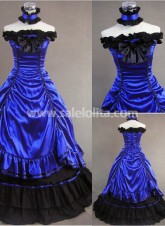 Gorgeous Sleeveless Blue Gothic Victorian Dress