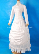 White Long Sleeves Cotton Floor-Length Lace Collar Ruffles Gothic Victorian Ball Gown For Dropshipping