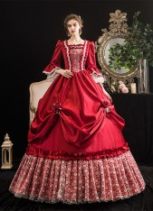 Rococo Baroque Red Marie Antoinette Ball Dresses 18th Century Renaissance Historical Period Dress Gown for Women