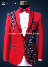Male Embroidered Diamond Performance Suits Grooms Prom Formal Red Suits