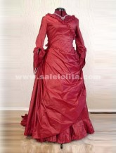 New Arrival Red Taffeta V-Neck Floor-Length Victorian Bustle Ball Gown