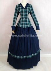Hot Sale Casual Dark Blue And Green Glaid Victorian Lolita Dresses For Women