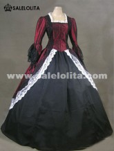2016 Elegant Wine Red And Black Long Sleeve Lace Renaissance Dresses Medieval Civil Victorian Ball Gowns