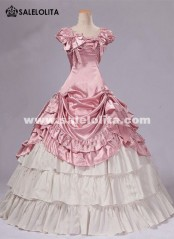 Brand New Pink Southern Belle Dress Early Victorian Revolutionary Ball Gowns Reenactment Theater Halloween Costumes