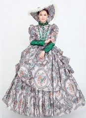 High-end Gray Floral Vintage Court Party Dress Historical Period Reenactment Theater Costume