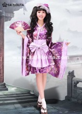2019 New Discount Purple Print Lolita Kimono Women Cosplay Dress