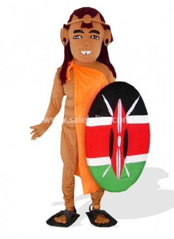 African Solider Plush Adult Mascot Costume