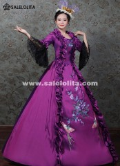 Purple Embroidery Marie Antoinette Gown Victorian Masquerade Party Dress