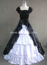 new Black and White Gothic Victorian Dress