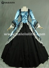 2018 Noble Blue And Black Long Sleeve Lace Medieval Gothic Victorian Ball Civil War Victorian Dress For Women