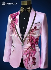 Men Slim Casual Pink Suits Sequins Embroidered Rhinestone Male Host Wedding Dress Man Singer Dancer Costume