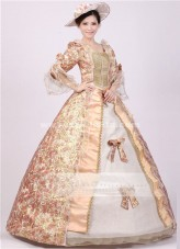 Elegant Rose Red Print Royal Palace Marie Antoinette Dress Costume,Civil War Medieval Renaissance Ball Gown