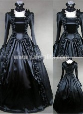 Pure Black Gothic Victorian Dress new