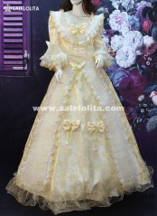 Custom High-end Vintage Champagne Hepburn Lace Flare Sleeve Victorian Belle Dress Medieval Marie Antoinette Dresses