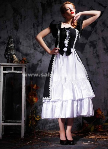 Classic white cotton and black short sleeved Gothic Lolita dress