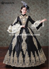 Women Halloween Vampire Dresses Black Embroidery Marie Antoinette Gothic Ball Gown Gowns Stage Theater Costumes
