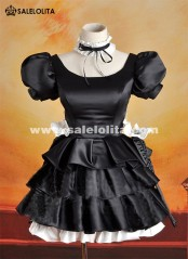 2019 NEW Maid Devil Cosplay Dress Black Hildegarde Short Sleeve Dress