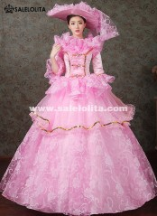 2018 Four Colors Floral Dance Dress Medieval Victorian Marie Antoinette Dress